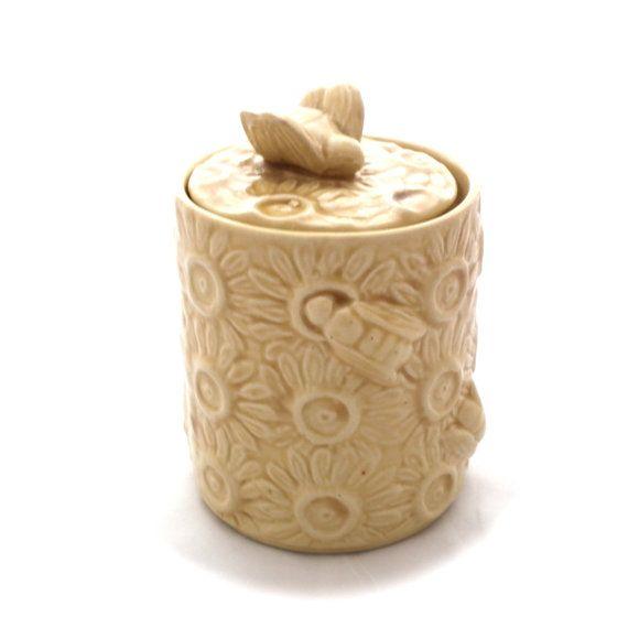 Vintage Ceramic Honey Jar With Bee Lid