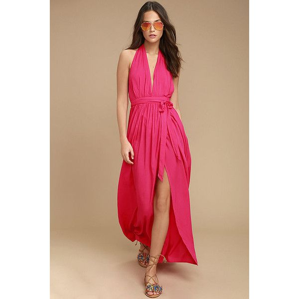 Magical Movement Hot Pink Wrap Maxi Dress ($49) ❤ liked on Polyvore featuring dresses, pink, wrap dresses, pink maxi skirt, pink dress, beige maxi dress and long maxi skirts