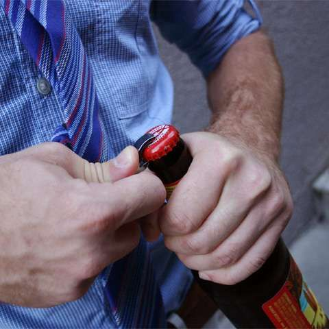 Bottle opener in your tie. sneaky!!