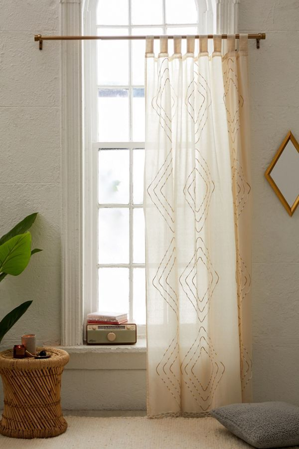 Urban Outfitters Shayne Window Panel Bamboo Beaded Curtains