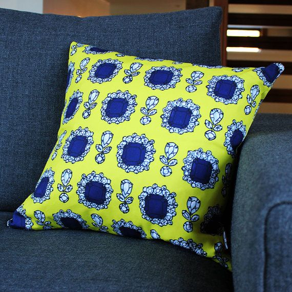 Dolce Yellow Print Cushion by PerkyDeco on Etsy