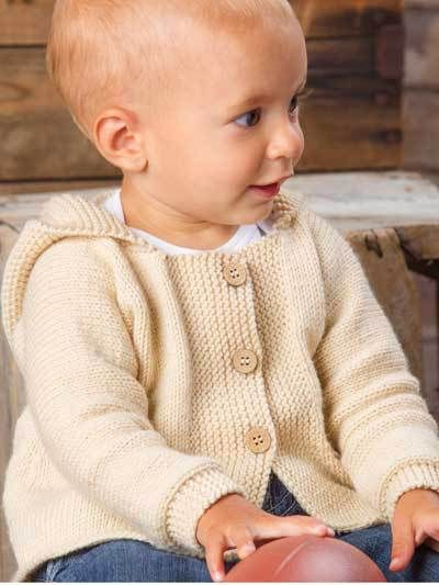 Knitting pattern for Happy Cheer hooded baby cardigan sweater. This sweater is super easy to knit, making it perfect for the first-time sweater knitter!  Finished size to fit Child's 6 (12, 18, 24) months. Annie's affiliate link