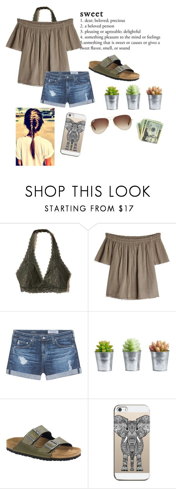 """Contest entry!!"" by emily-wollan ❤ liked on Polyvore featuring Hollister Co., Velvet, AG Adriano Goldschmied, Pottery Barn, Birkenstock, Casetify and Ray-Ban"