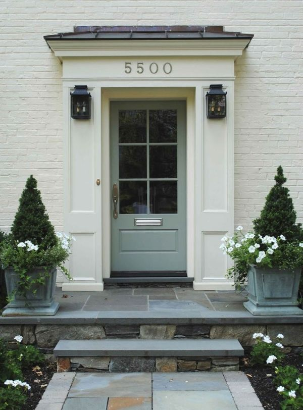 Farrow and Ball Oval Room Blue front door - with flags & setts - just about everything, really!