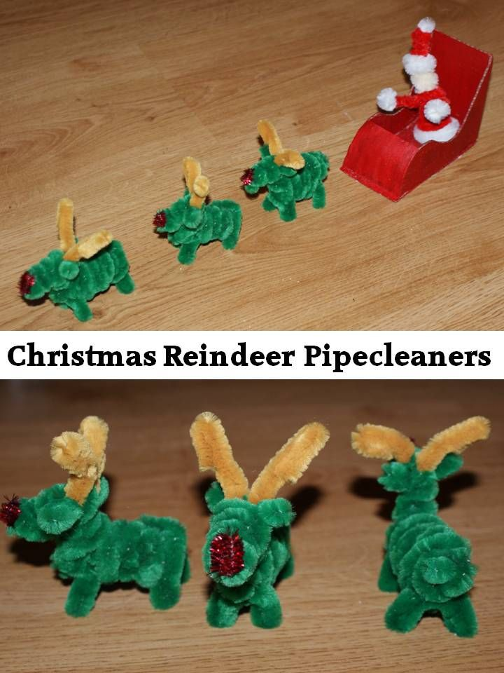 DIY Christmas ornaments decor, reindeer pipecleaners