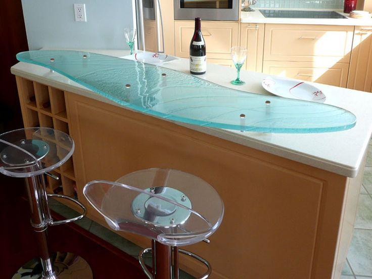Aqua Clear Glass With Polished Edges, U201cSandstormu201d Texture Raised Glass Bar  Top