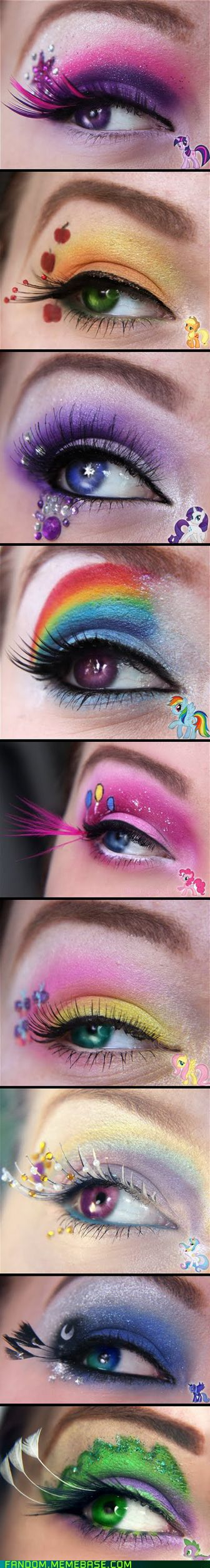 Make-up looks inspired by My Little Pony: Friendship is Magic. I love Luna's look.