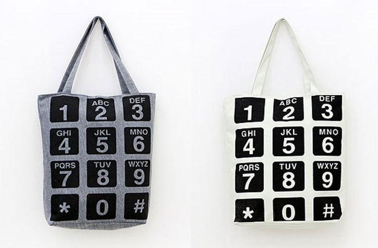 MIRINE New Telephone Number Dial Pattern Practical Eco Friendly Canvas Bag #MIRINE #EcoFriendlyBag