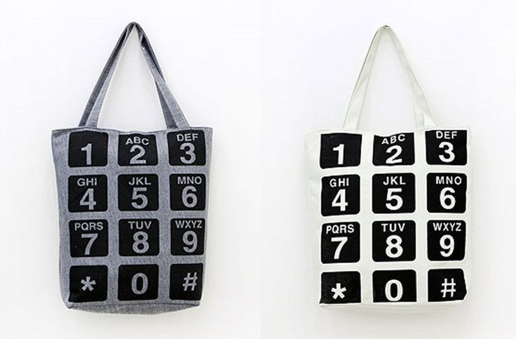MIRINE New Telephone Number Dial Pattern Practical Eco Friendly Canvas Bag #MIRINE #EcoFriendlyBag