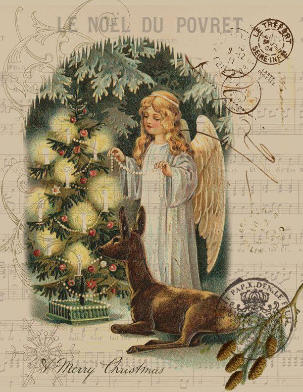 Paper Christmas Angel Print
