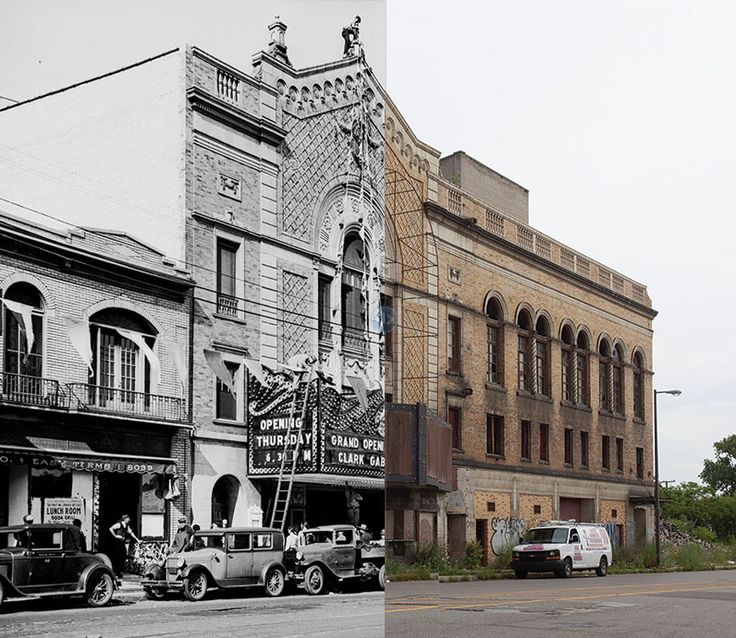 Then and Now. Eastown Theater, 1930 and 2013. The Eastown theater went through several different lives: First as a movie theater in the 1940's, then as a music venue in the 1970's, and lastly as a setting for raves and electronic music in the 1990's. After the attached apartment complex burned down in 2010, the theater fell into further disrepair, and now awaits demolition.