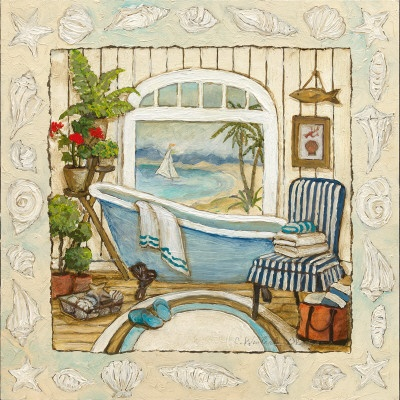 Sea Breeze Bath II  Art Print  by Charlene Olson
