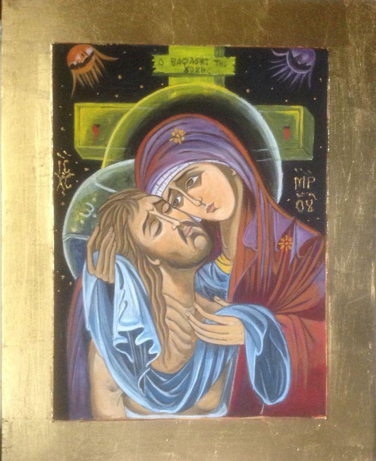 La Pietà Icône  a l'œuf et feuilles or Artiste Lucette Matar