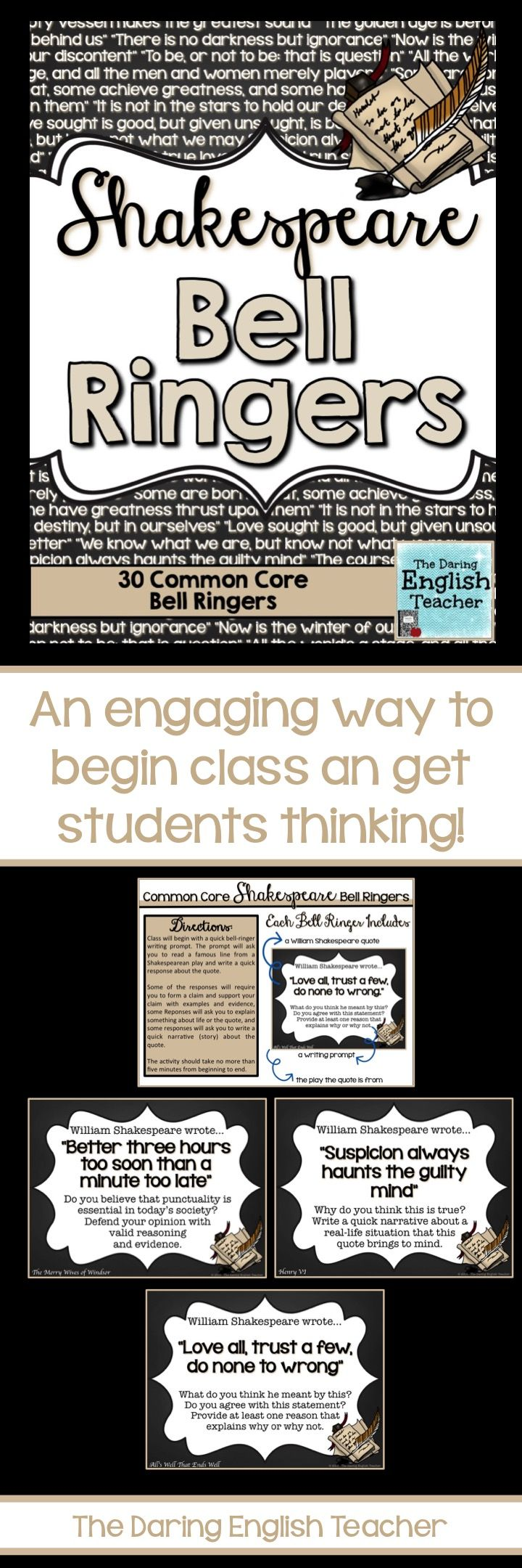 Start your class with a Shakespeare inspired and common core aligned bell ringer! #shakespeare #highschoolEnglish