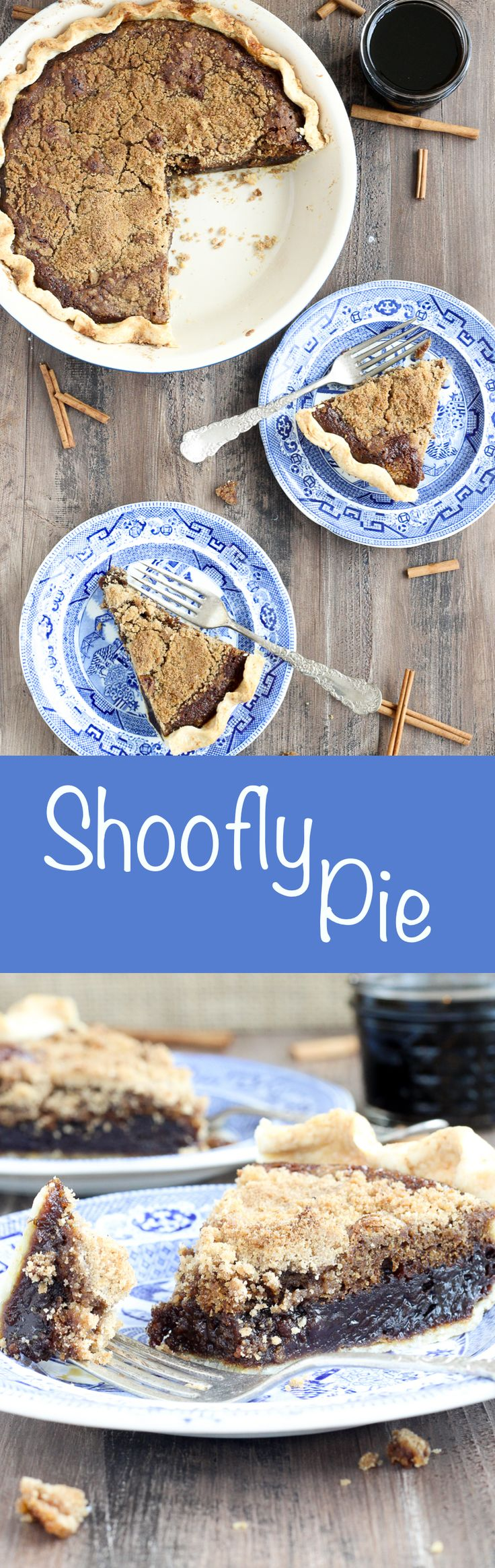 This shoofly pie has all the flavors of a molasses ginger cookie mixed with a buttery streusel in a flakey pastry crust. The rich, spicy, sweet filling just melts in your mouth bite after bite (slice after slice)