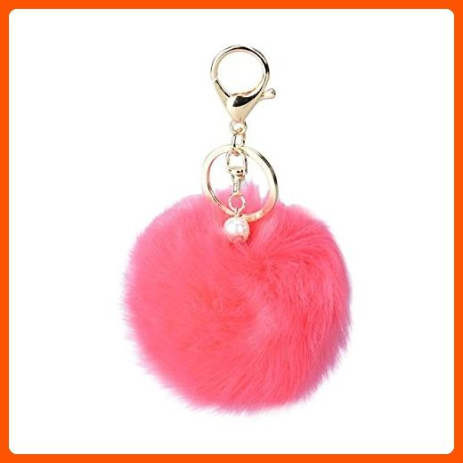 DZT1968® Solid Color Imitate Rabbit Fur Ball Keychain Handbag Key Ring Car Key (Watermelon Red) - Little daily helpers (*Amazon Partner-Link)