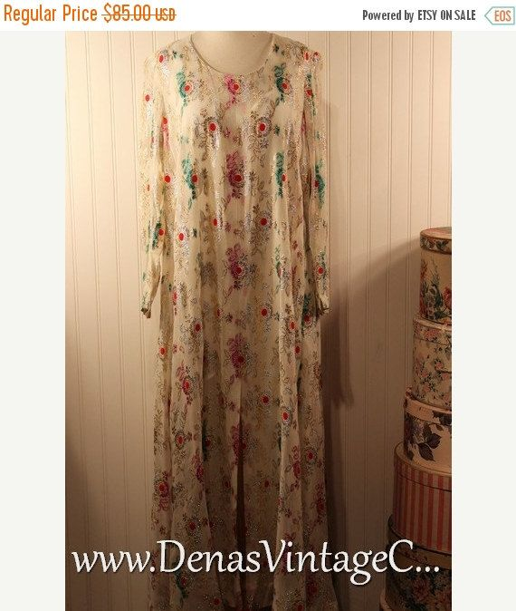 60% OFF Black Friday Sale Vintage 80s Sheer Chiffon Multi Colored Glittery Metallic Maxi Dress SZ L