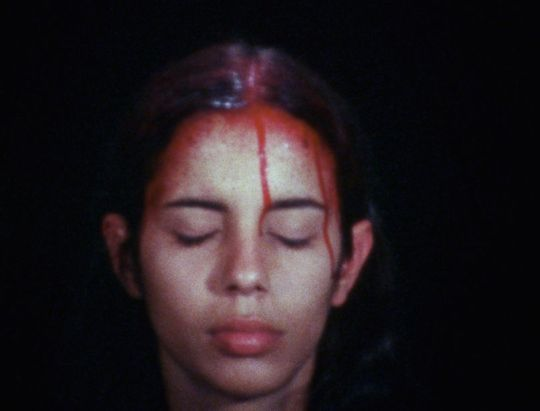 Ana Mendieta, Sweating Blood, 1973. Still from Super 8, color, silent.