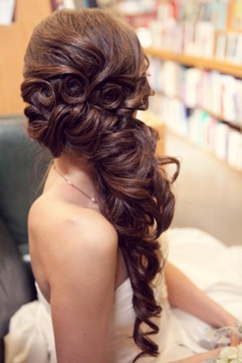 Wedding hair, prom hair, half up half down, side swept, curly hair ... LOVE IT!