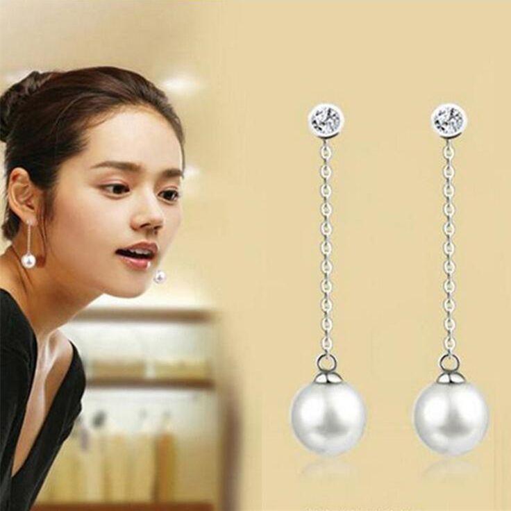 2016 New fashion crystal long silver chain tassel stud earrings round temperament pearl eardrop earrings