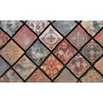 Spanish Tiles 18 in. x 30 in. Recycled Rubber Mat, Brown/Tan