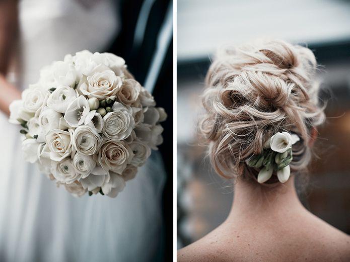 winter wedding hair + bouquet