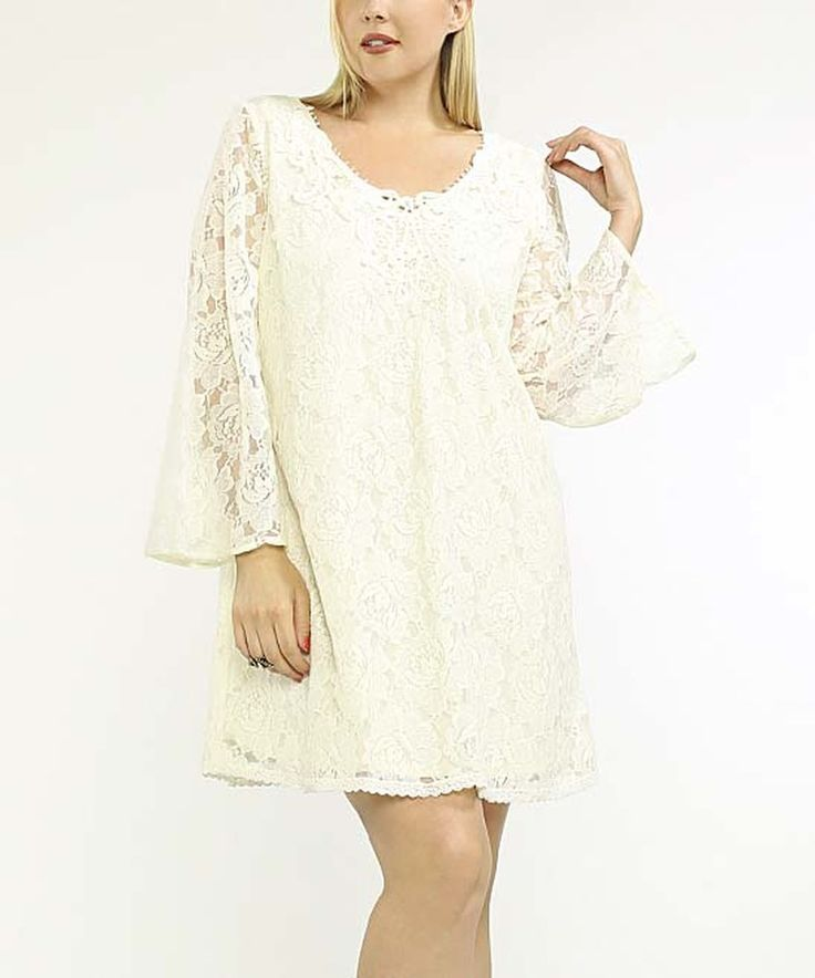 Look at this #zulilyfind! Cream Lace-Overlay Shift Dress - Plus by Flying Tomato #zulilyfinds