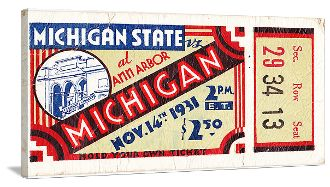 The best Michigan football gifts made from authentic vintage Michigan football tickets! See more Michigan football gifts at http://www.shop.47straightposters.com/1931-Michigan-Football-Ticket-Art-Michigan-Football-Tickets-39MICH-MSU.htm