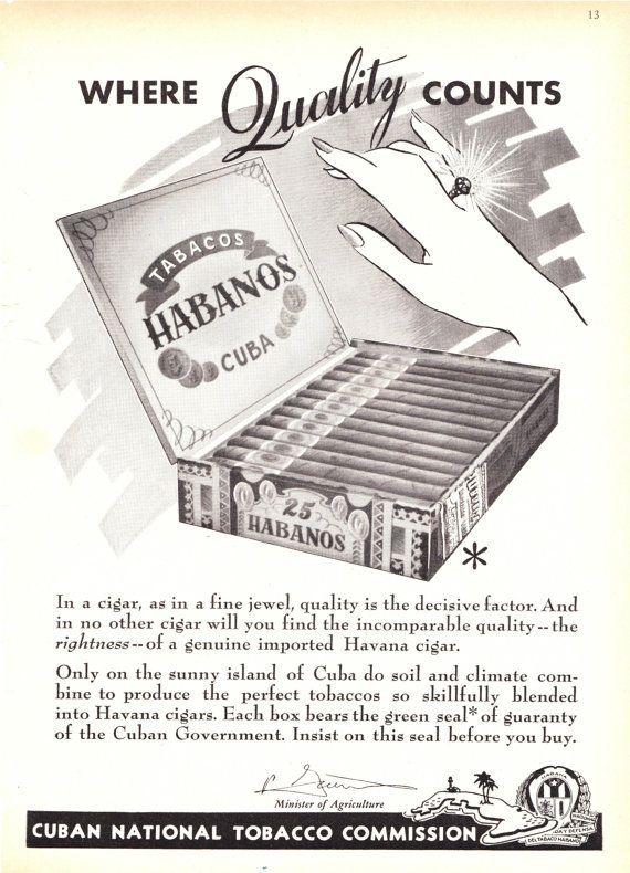 Vintage Cuban Cigar Magazine Ad 1940s by #MinistryOfArtifacts  $9.00  #cuban #cigar #vintage #magazine #ad #advertisement