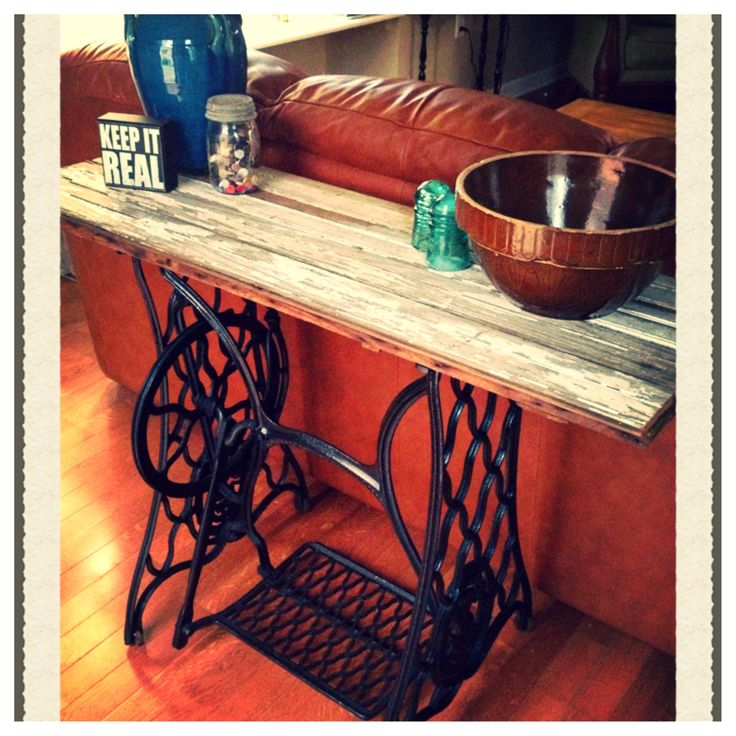 Cast Iron Sewing Machine Base Made In To A Sofa Table