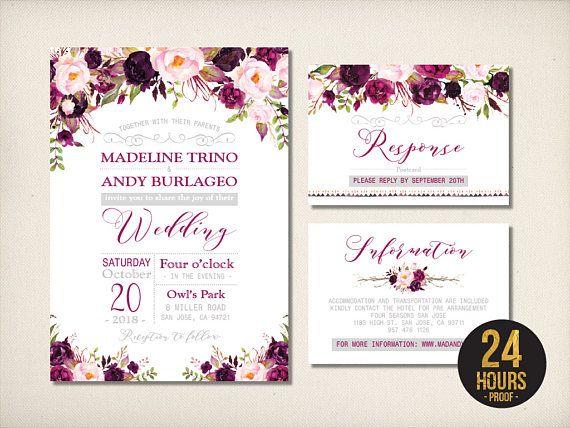 Wedding Invitation Floral Purple Silver Wedding Invitation