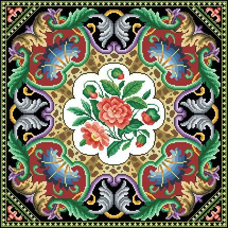 Antique Tapestry Pillow Square Floral Motif Counted Cross Stitch Pattern PDF