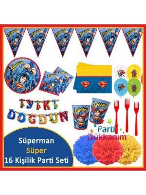 Superman 16 Kişilik Süper Parti Seti