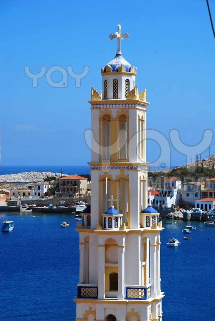 The bell tower of the Agios Nikolaos church at Emborio on the Greek island of Halki. It is the tallest bell tower in the Dodecanese islands.