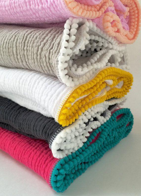 Swaddle Blanket / Build Your Own Pom Pom by CharleyCharlesShop