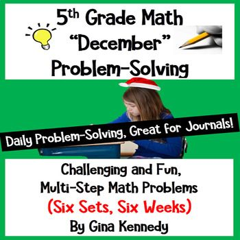 "Six sets (five in each set) of standards based themed 5th Grade math multi-step weekly problems. Great for no-prep ""daily"" multi-step problem solving or for use anytime as an entire set. Excellent for math journals. The problems involve all operations; fractions, decimals, geometry, algebra and more."