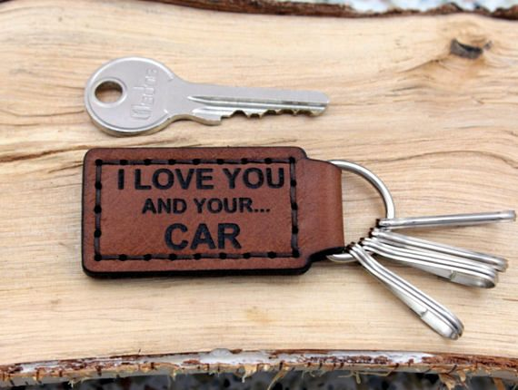 Key Fob KeyHolder Car Keychain Keyring Natural Leather carabiner Gift for Him Boyfriend Father Grandfather Sense of Humor Joke