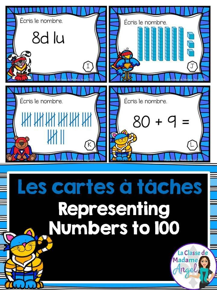 Les cartes à tâches.  Set of task cards in French!  Perfect for practicing place value and representing numbers.