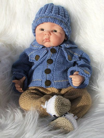 Knitting - Patterns for Children & Babies - Gift Set Patterns - Denim Jacket & Chinos Outfit - hooray! one for the boys. - preemie to 3 mos. - intermediate - sweet!
