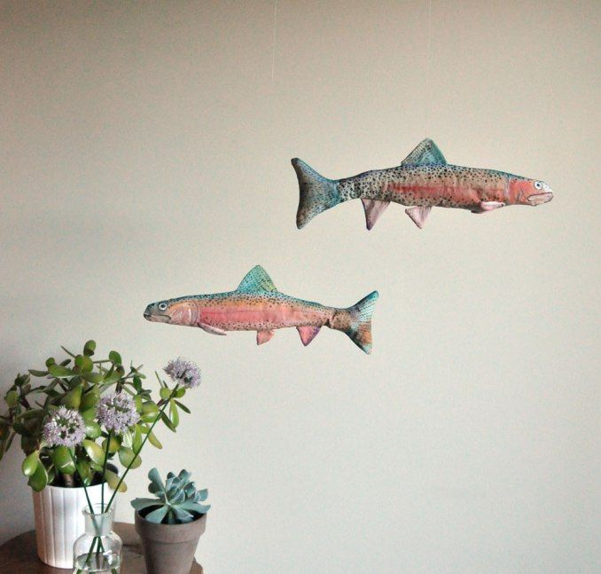 Annex Suspended - hanging suspended decorative art - one-of-a-kind rainbow trout, hand painted, hand made, hand crafted, made in Canada