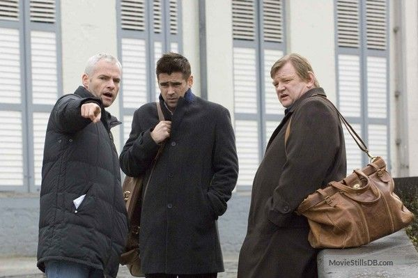 In Bruges - Behind the scenes photo of Colin Farrell, Brendan Gleeson & Martin McDonagh