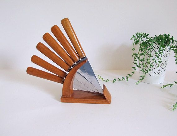 Karl Holmberg Sweden //Set of six fruit knives with stand//