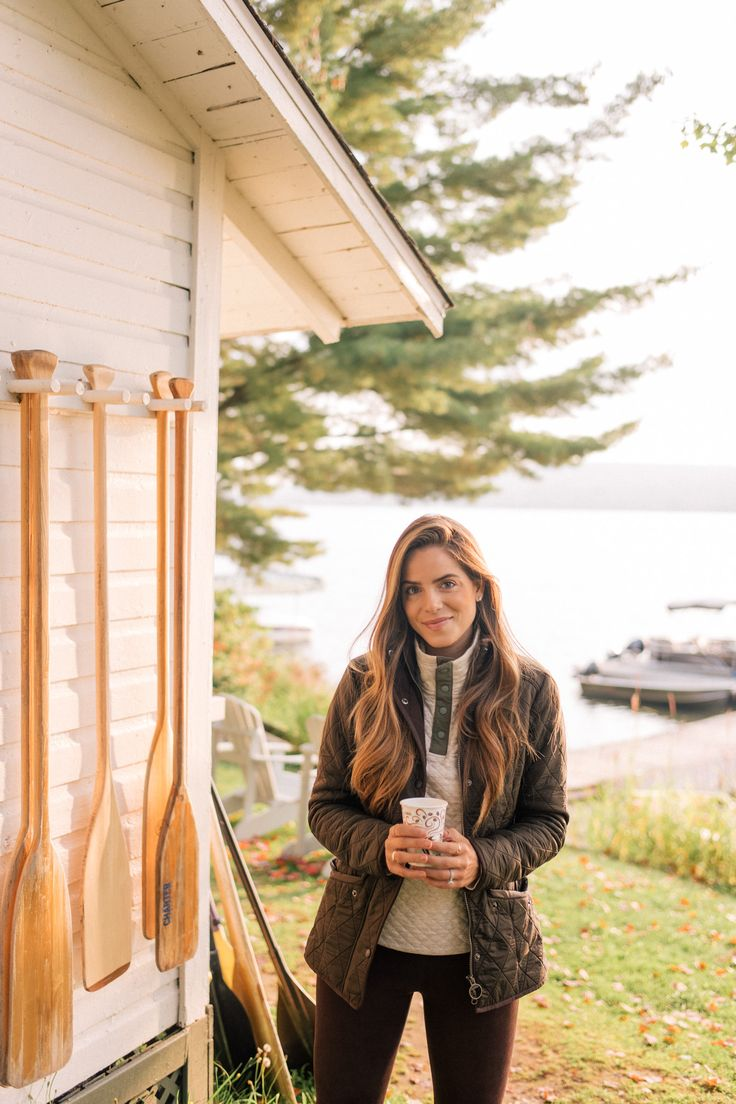 Gal Meets Glam Sunrise & Sunset On Lake Massawippi -Barbour jacket, Patagonia pullover c/o Backcountry & L'Agence pants