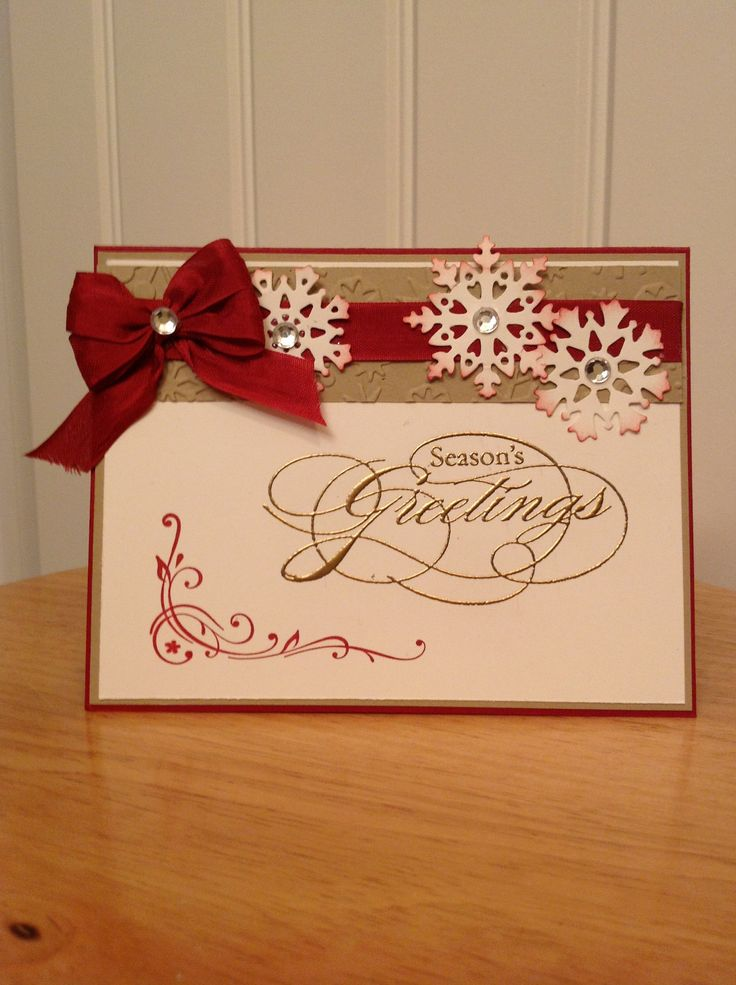 Stampin Up Christmas card - season's greeting in Gold.