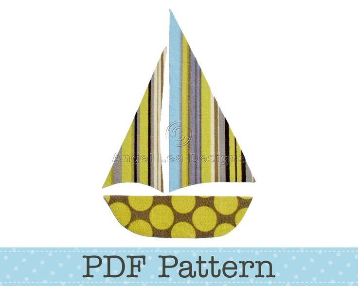Sail Boat Applique Template, Yacht, DIY, Children, PDF Pattern by Angel Lea Designs. $2.30, via Etsy.