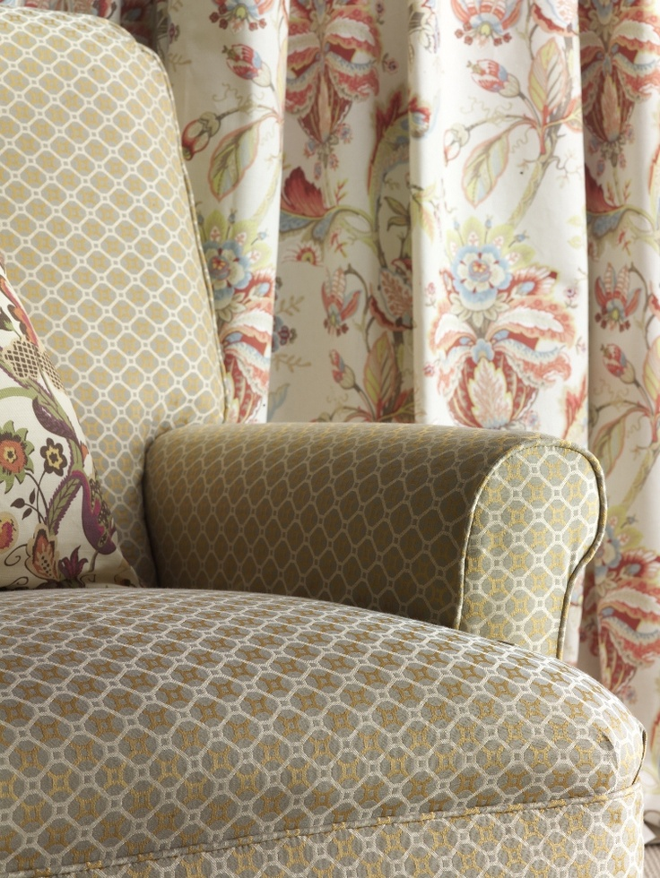 Bellevue Prints & Bellevue Weaves - Calcot (Chair), Radiance (Cushion) & Tranquility (Curtain)