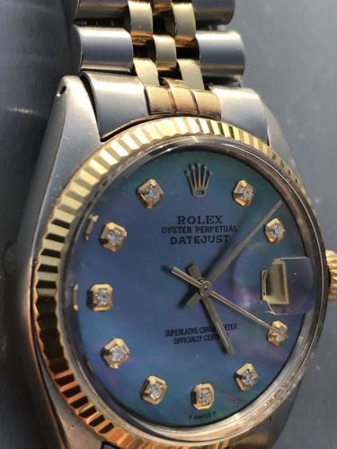 426b05036332 Rolex DateJust Gold Blue MOP Diamond Dial 36mm Mens 1601 Mother of Pearl