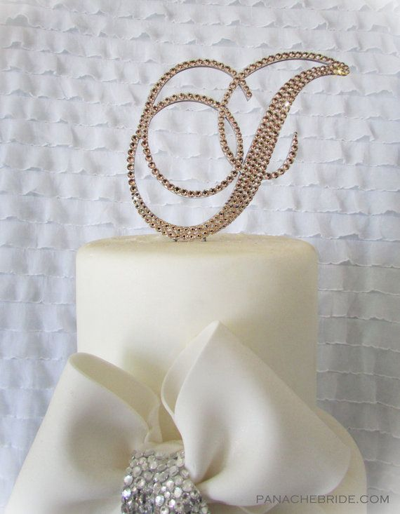 Beautiful handmade monogram cake toppers and custom cake toppers embellished with Swarovski Crystals.  Perfect for a elegant wedding cake. www.panachebride.etsy.com