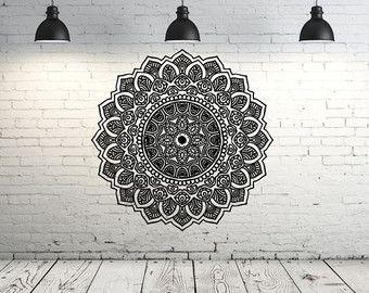 Mandala mur Sticker vinyle autocollants Yoga par FabWallDecals