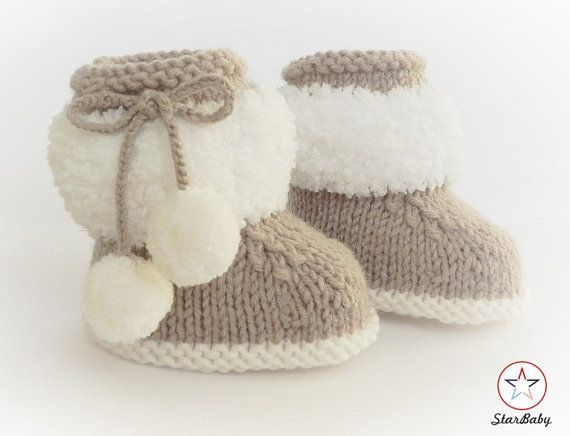 Baby Booties, Ugg Boot style, Knitted Booties, Beige and White Boots, Furry Booties, Fluffy Booties, Hand Knit Booties,